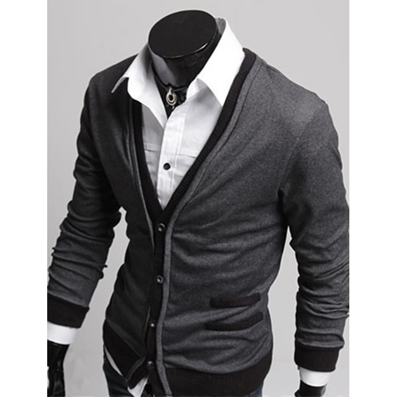 Zogaa Cardigan Men Thin Sweater Coat Casual Men Solid V Neck Pullover Single-breasted Cashmere Cardigan Sweater Slim Pull Homme
