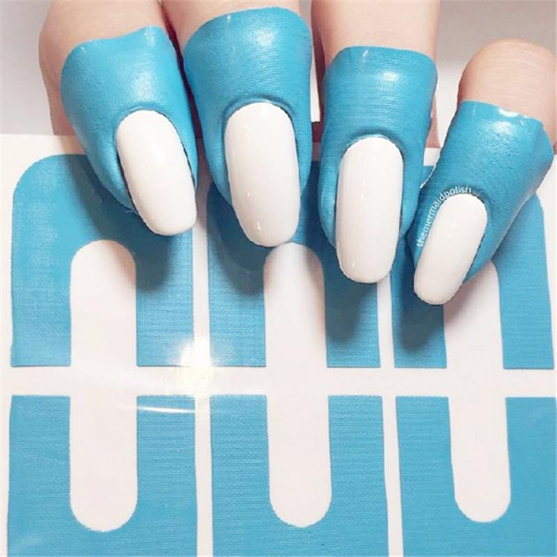 10PCS Peel Off Tape Spill-resistant Nail Protector Creative U-shape Spill-proof Nail Polish Varnish Protector Stickers Tools