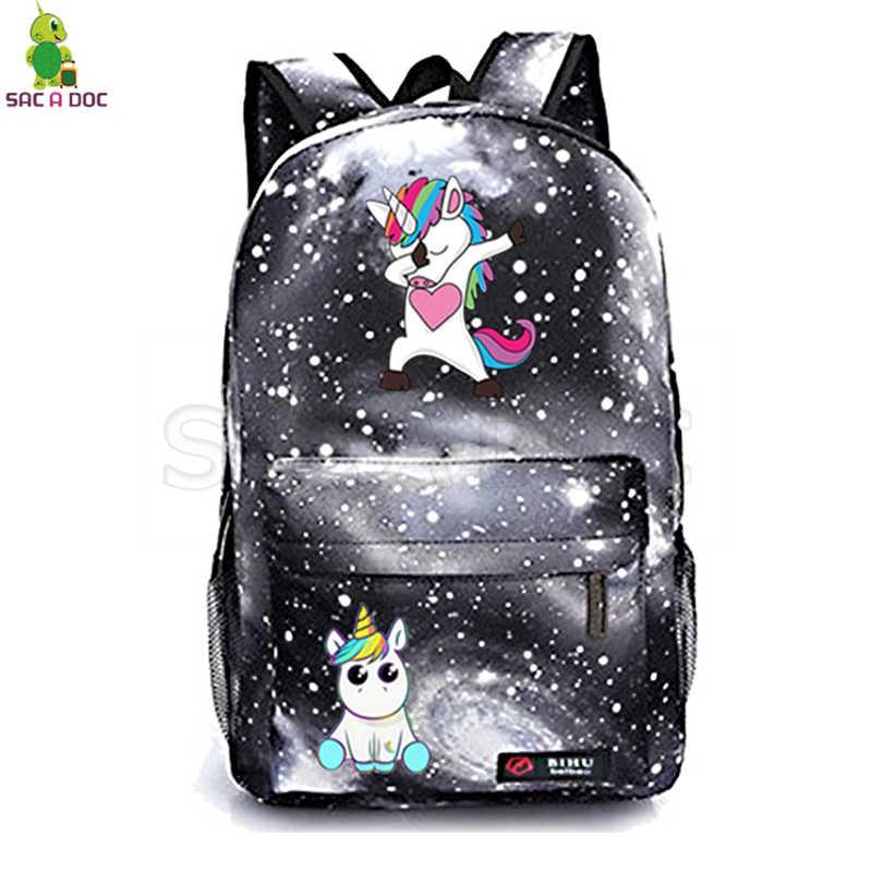 Unicorn Zaini Adolescente Scuola zaino Borse Zaino Del Fumetto unicorno sac a dos Galaxy mochila unicornio borse Da Viaggio