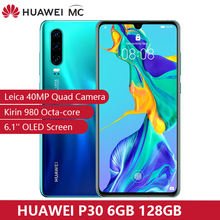 Pré venda 30 dias huawei p30 6 gb 128 gb kirin 980 smartphone 30x zoom digital 4 câmera 6.1 screen screen tela oled nfc 3650 mah ip53 à prova dwaterproof água