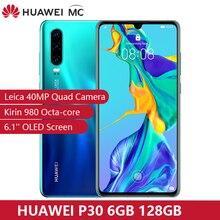 "Preventa 30 días Huawei P30 6GB 128GB Kirin 980 Smartphone 30x Zoom Digital 4 Cámara 6,1 ""pantalla OLED NFC 3650mAh IP53 impermeable"