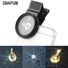 SNAPUM Cellphone HD 15X Macro len + star filter lens for all smartphones Mobile Phone 37mm,use for Jewelry diamond gold jewelry