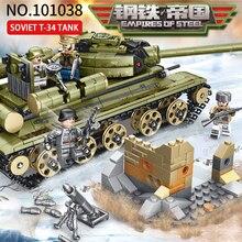 Sembo New 683pcs WW2 Tank Series Soviet T-34 Tank Building Blocks Model Bricks Compatible Military Figures Building Toys For Kid printio soviet tank