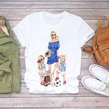 Ladies 2021 Cartoon Super Mom With Baby Life Mom Summer Printed Pattern Ladies T-shirt Top