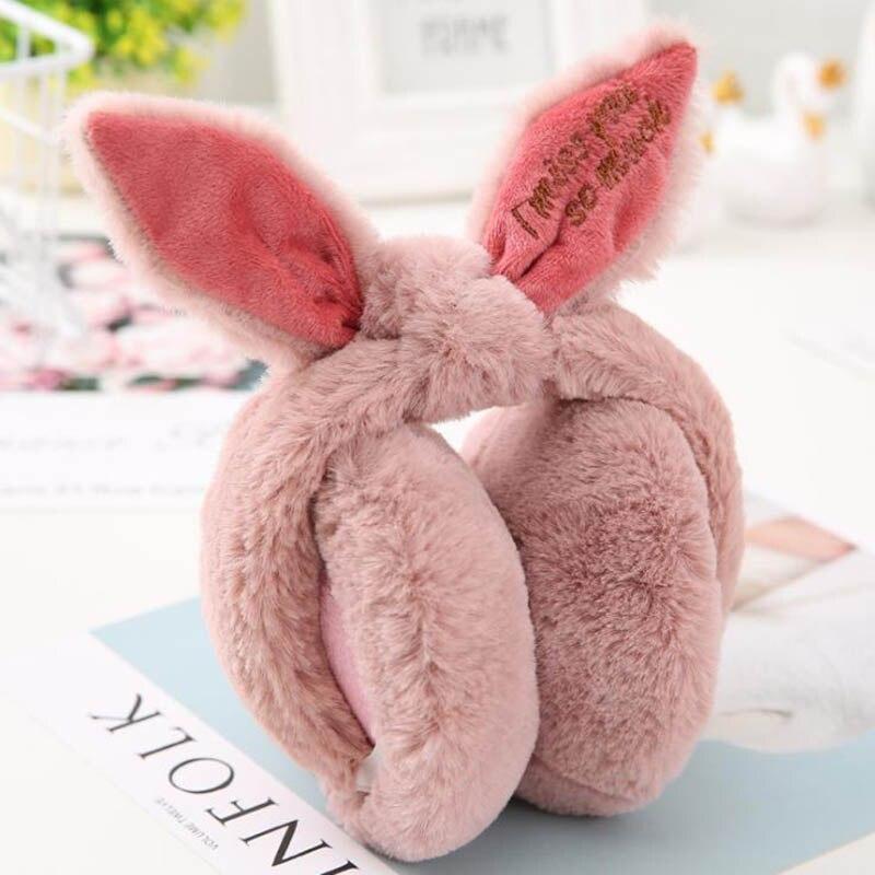 Calymel Winter Earmuffs Rabbit Fur Folding Earcap Warm Ear Cover Fur Headphones Cute Outdoor Skiing Warmer Dropshipping