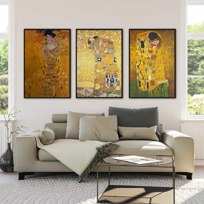 Der Kuss von Gustav Klimt Leinwand Malerei Kunst Drucke Wand Bild Für Wohnzimmer Wohnkultur Valentinstag geschenk