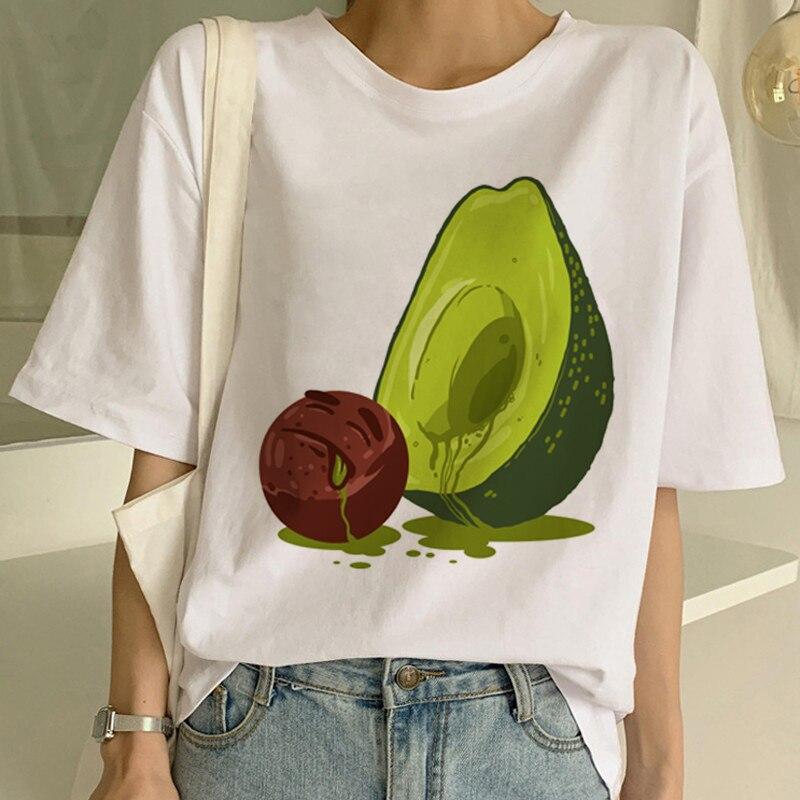 New Avocado Shirt Vegan T Shirt Women Harajuku Kawaii Short Sleeve T-shirt Vogue 90s Korean Style Tshirt Fashion Top Tees