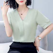 Korean Chiffon Women Blouses Women Solid V-neck Shirt Tops Blusas Mujer De Moda 2020 Woman White Blouse Woman Tops Plus Size XL
