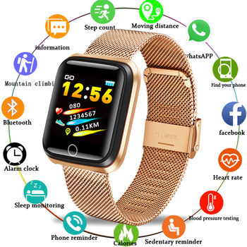 LIGE Stainless Steel Strap Sport Smart Bracelet IP67 Waterproof Watch Pedometer Heart rate Monitor LED Color Screen Android ios color screen smart bracelet ip67 waterproof heart rate for ios android monitor fitness tracker bluetooth sport smart watch