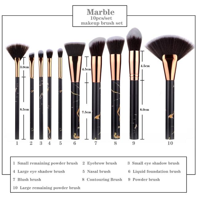 FLD 10 Pcs Professional Makeup Brushes Set Full Function Foundation Eye Powder Fan Blush Brush Makeup Tools Brushes Set Kit 4