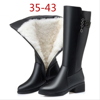 D399 Women Winter Boots Genuine Leather Female boots high-heeled women long boots wool lined warm snow boots Lady Fashion shoes