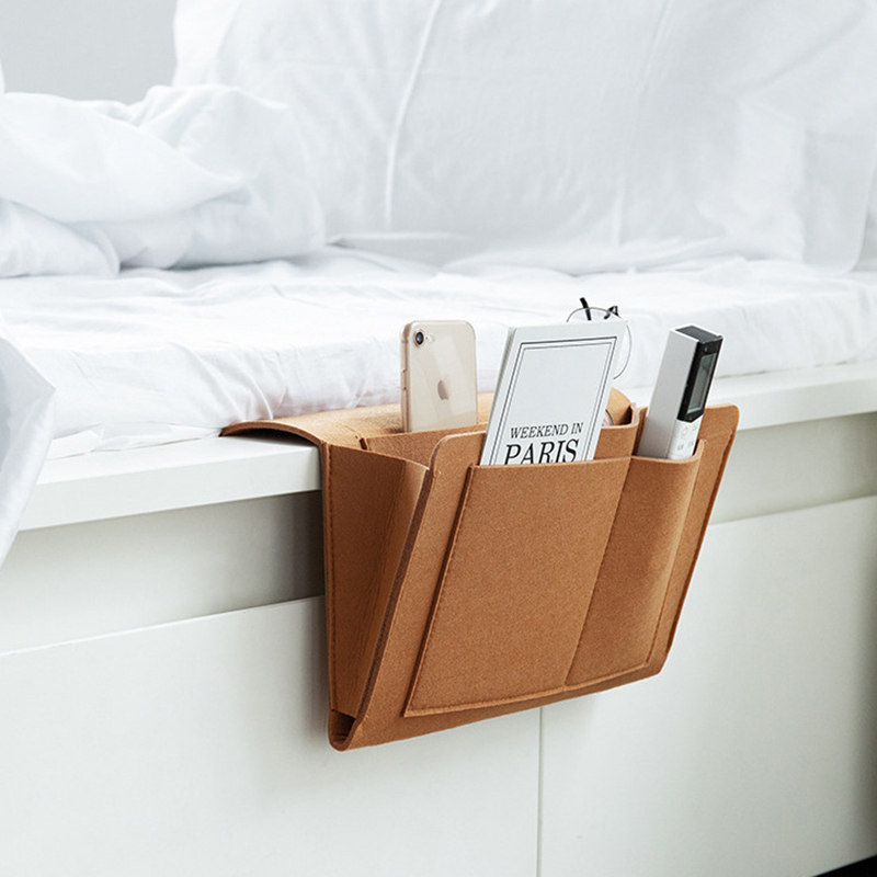 Bedside Felt Storage Bag with <font><b>Pockets</b></font> Bed <font><b>Sofa</b></font> Desk Hanging Organizer <font><b>for</b></font> Phone Magazines Tablets <font><b>Remotes</b></font> TSH Shop image