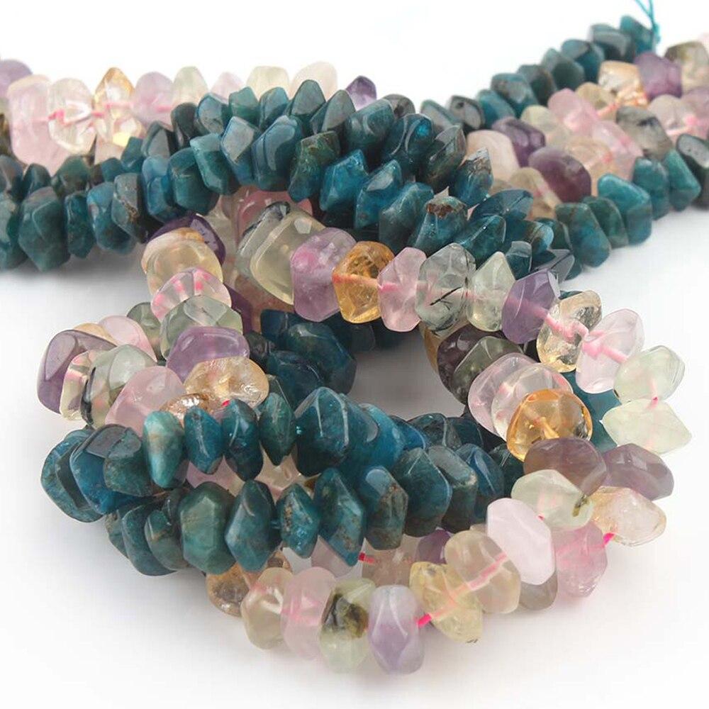 Natural Rhombus Gem Blue Apatite Colorful Quartzs Crystal Irregular Loose Spacer Beads For Jewelry Making DIY Perles Bracelets(China)