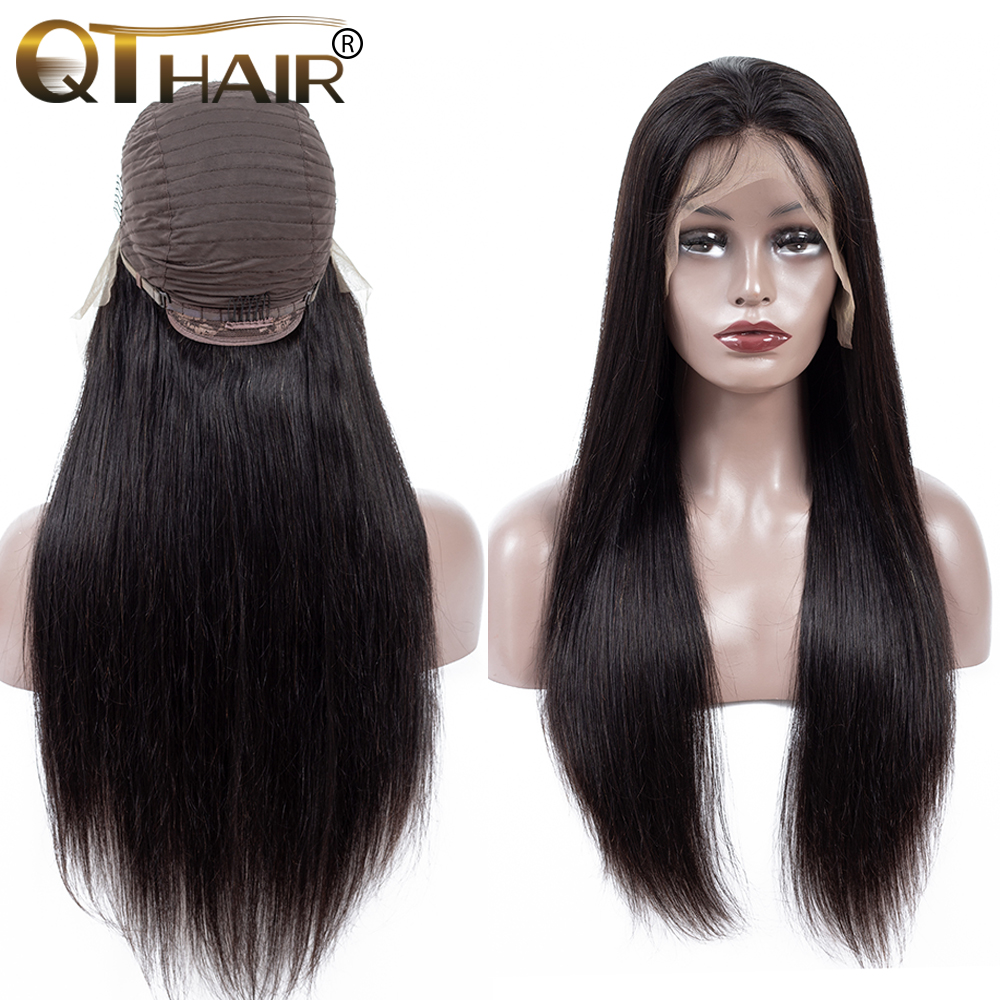 13x4 Lace Front Human Hair Wigs Pre Plucked Hairline Baby Hair Brazilian Straight Lace Front Wigs Bleached Knots Remy QT Hair-in Human Hair Lace Wigs from Hair Extensions & Wigs