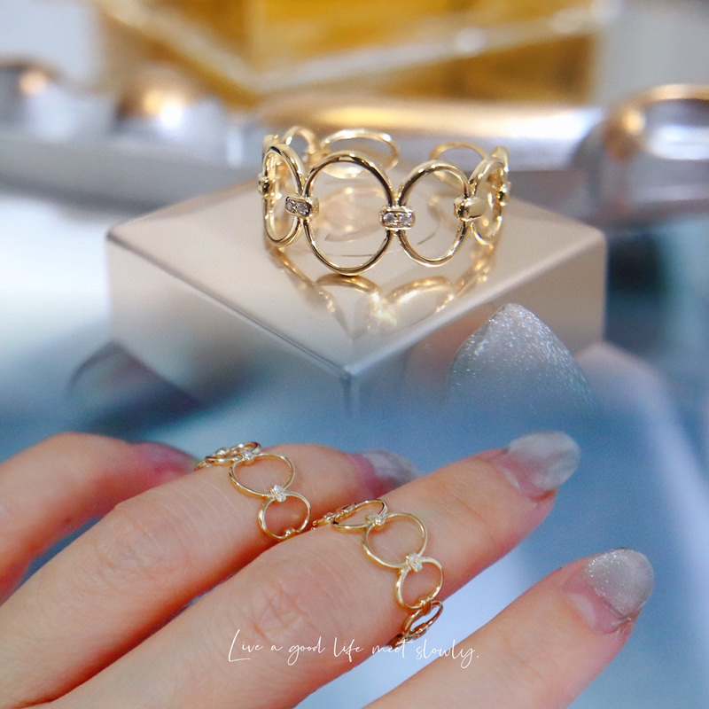 18K import Solid Yellow Gold Jewelry(AU750) Women Designer Ring Geometry Round Open...