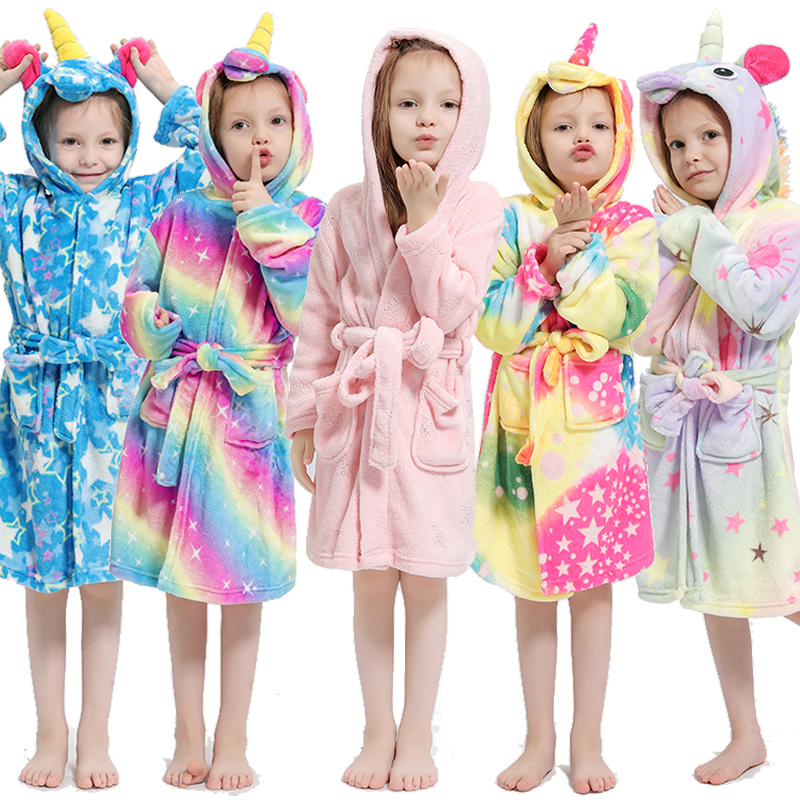 Kigurumi Children Bath Robe Baby Towel Children's Rainbow Unicorn Hooded Bathrobes For Boys Girls pajamas Kids Sleepwear Robe 3-