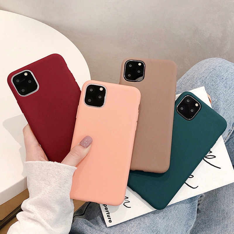 Funda Moskado para iPhone 11, carcasa Simple de Color liso para iPhone 11Pro X XR XS Max 6 6s 7 8 Plus, funda trasera de silicona suave de TPU