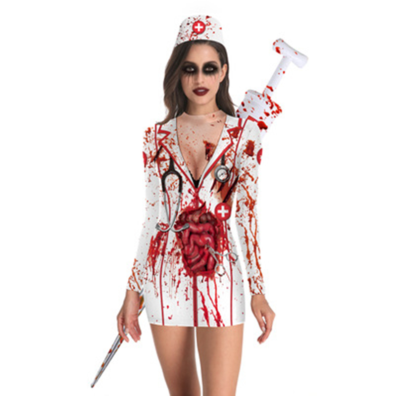 Bloody Nurse Role-play <font><b>Dress</b></font> for <font><b>Women</b></font> <font><b>Halloween</b></font> Scary Horror Cosplay Costumes <font><b>Sexy</b></font> Mini <font><b>Dress</b></font> Gothic Medieval Clothing image