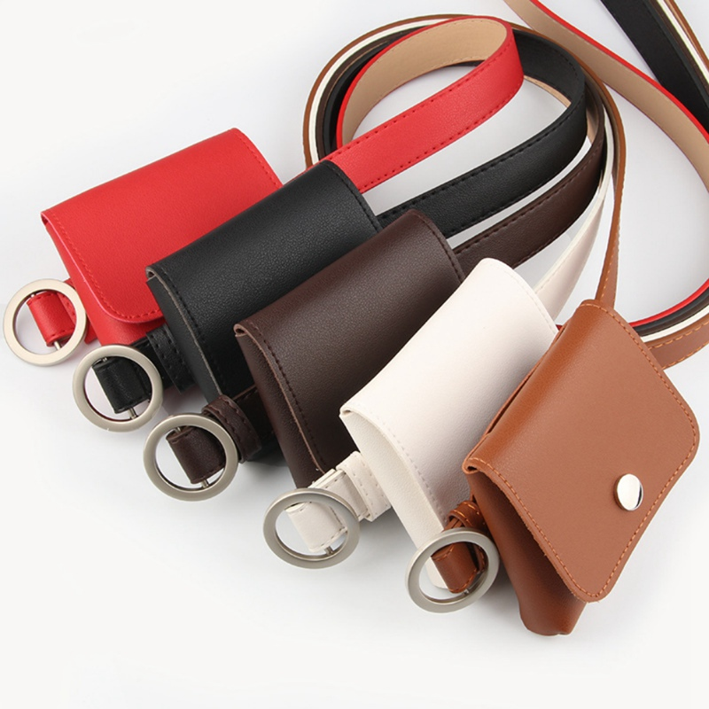 Women's Leather Belt Fanny Pack With Removable Belt Tassel Waist Pouch Belt Bags