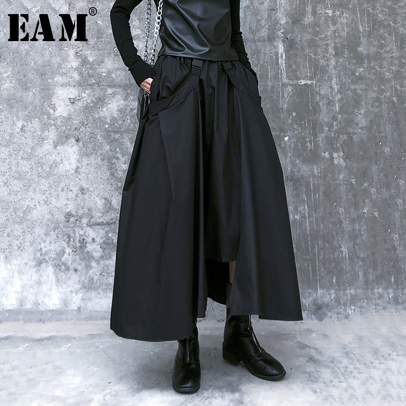 [EAM] High Elastic Waist Black Pocket Asymmetrical Temperament Half-body Skirt Women Fashion Tide New Spring Autumn 2020 1R108