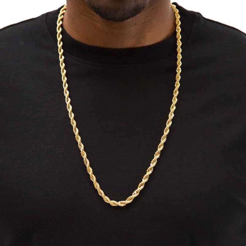Lina ze stali nierdzewnej 316L łańcuchy mężczyźni naszyjnik srebrny złoty kolor nie znikną bezpłatne alergiczne 20 cali do 24 cali