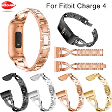 New fashion Crystal Diamond straps for Fitbit Charge 4 with Diamonds Adjustable Bracelet strap stainless steel Replacement Bands
