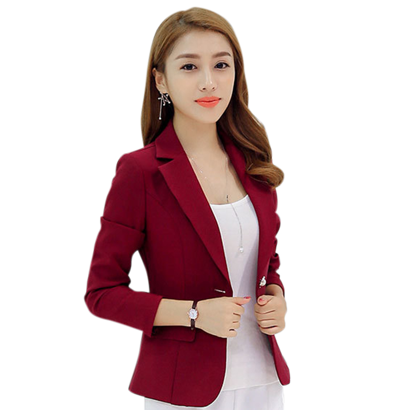 Women Fashion Concise High Quality New Small Suit Korean Suit Slim Solid Color Long-sleeved Slim Female Blazer Feminino