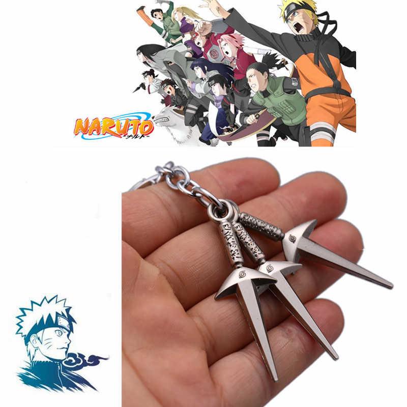 Anime Naruto Uchiha Itachi Cosplay Acessórios Konoha Shuriken Kunai Arma Pingente de Metal Keychain Anel Chave 3 pçs/set Prop Brinquedos