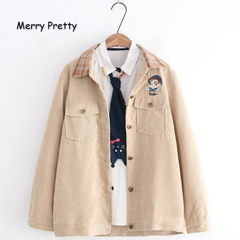 MERRY PRETTY Corduroy Women's Cartoon Embroidery   Basic     Jackets   And Coats 2019 Winter Warm Long Sleeve Turndown Collar   Jackets