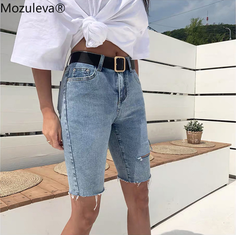 Mozuleva Casual Stretch High Waist Blue Destroy Ripped Denim Shorts 2020 Summer Women Pockets Tassel Midi Shorts Jeans For Women