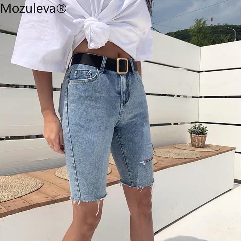Mozuleva Casual Stretch High Waist Blue Destroy Ripped Denim Shorts 2020 Summer Women Pockets Tassel Midi Shorts Jeans For Women