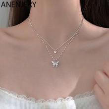 ANENJERY – collier papillon en argent Sterling 925 pour femmes, bijou brillant, Double couche, chaîne clavicule, S-N173