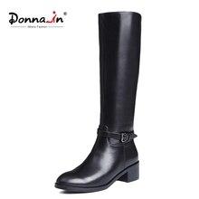 ドナ冬のブーツの女性のニーハイブーツ毛皮暖かいブーツ本革の女性の靴ラウンドトウヒール黒ブーツ女性2020
