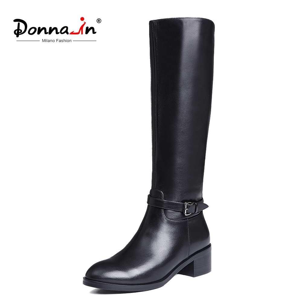 Donna-ฤดูหนาวรองเท้าสตรีเข่าสูงรองเท้าบูทอบอุ่นรองเท้าใหม่แฟชั่นหนังผู้หญิงรองเท้ารอบ Toe ส้นสุภาพสตรี 2019
