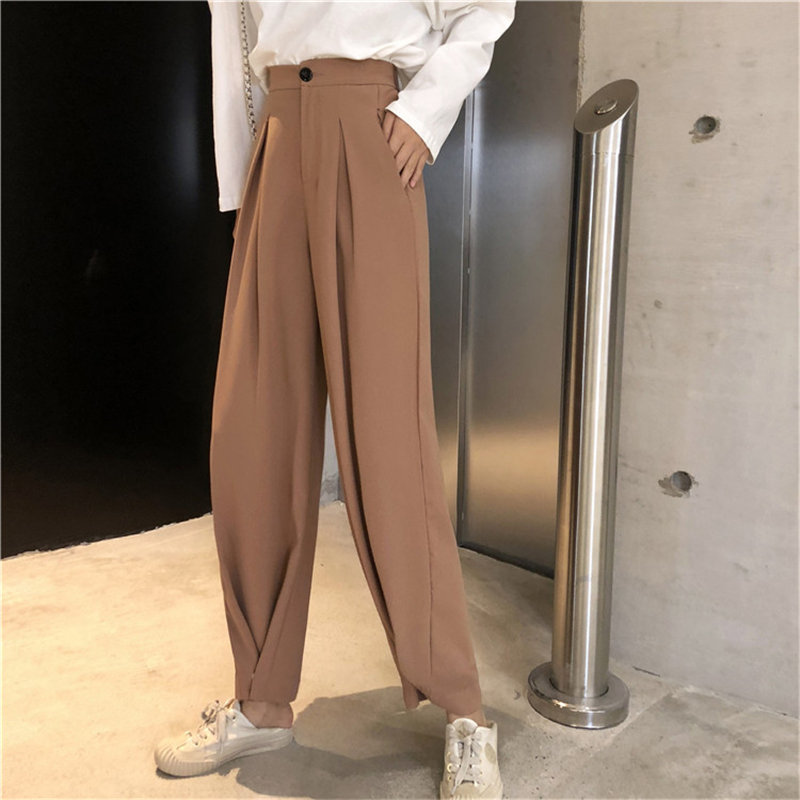 Alien Kitty Slender Casual 2019 Solid Straight Plus   Wide     Leg     Pants   Loose Brief High Waist Women All Match Full-Length Trousers