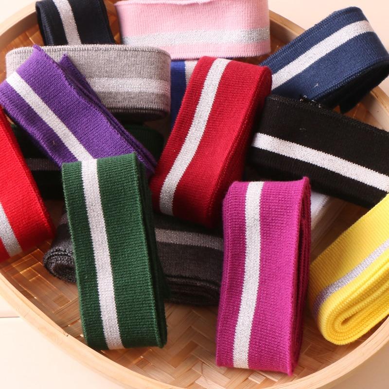 Elastic Cuff Rib With Silver Line T-shirt Neckline Elastic Collar Cuffs Hem Bottom Collar Thread Mouth Fabric
