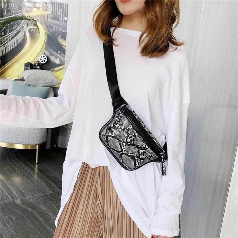 Fashion Snake Print Waist Bags Women Serpentine PU Leather Zipper Money Phone Pouch Fanny Chest Belt Packs