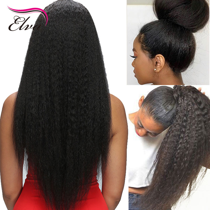 Elva Hair Kinky Straight 13x6 Lace Front Human Hair Wigs Pre Plucked With Baby Hair Brazilian Remy Hair 150% For Black Women