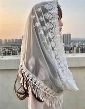 Velo católico para mujer, velo musulmán elegante con borlas de encaje, chal, bufandas Mantillas, velo para iglesia y novia, color blanco y negro, 2020