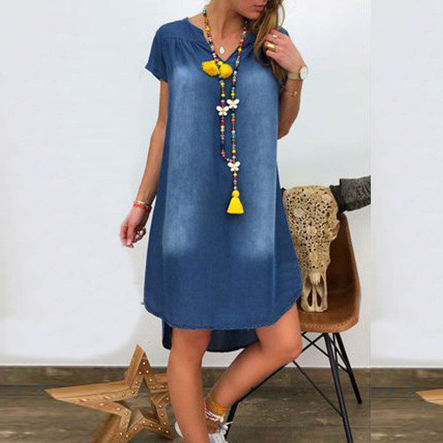 Women's Summer Cotton Dress Female Casual V Neck Denim Long Party Dresses Solid Color Short Sleeve Comfortable Loose Dress 2