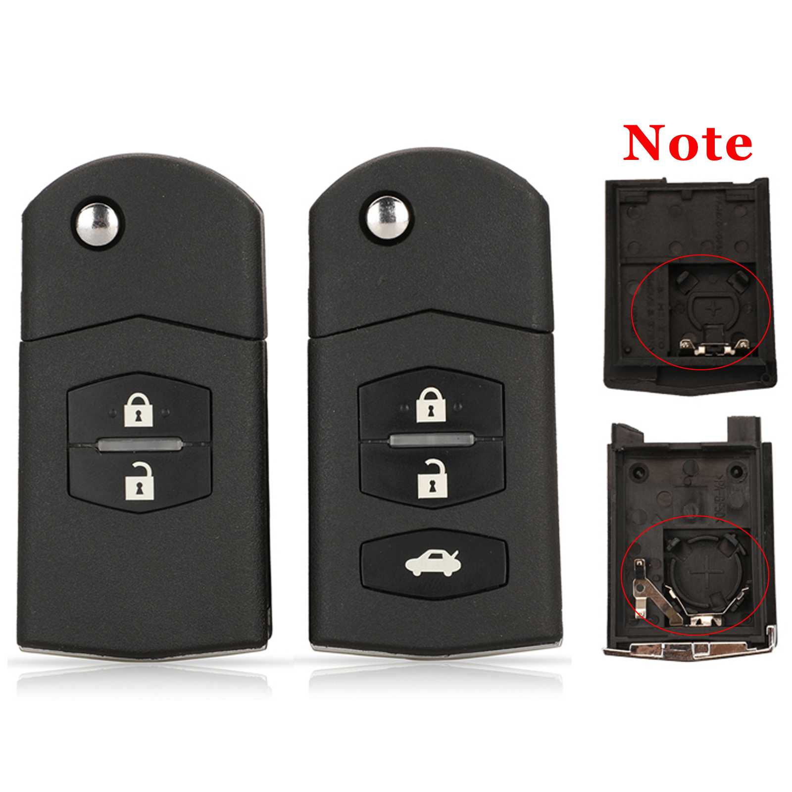 Jingyuqin 2/3 кнопочный дистанционный Складной флип-брелок для автомобильного ключа чехол для Mazda 3 5 6 необработанное лезвие с держателем аккумул...