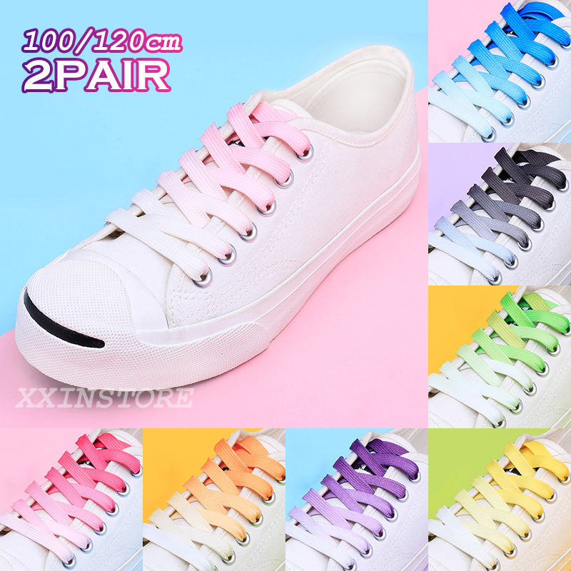 Fashion Gradient Shoelaces Casual Men And Women Shoelace Adults&children Unisex White Shoes Lace For Shoes Trings (100cm/120cm)