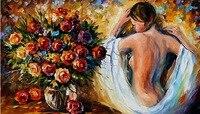 handmade knife painting wholesale flower oil painting nuked woman canvas art Leonid Afremov decorative painting home decoration
