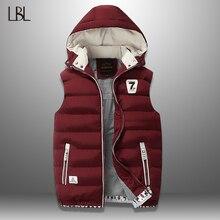Chaleco de invierno para hombre, chaleco informal sin mangas, chaqueta de talla grande 5XL, cálido, abrigos, sombrero desmontable, novedad