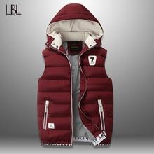 Mens Vest Winter Down Vest Casual Waistcoat Mens Sleeveless Jacket Plus Size 5XL Warm Mens Vest Overcoats Hat Detachable New