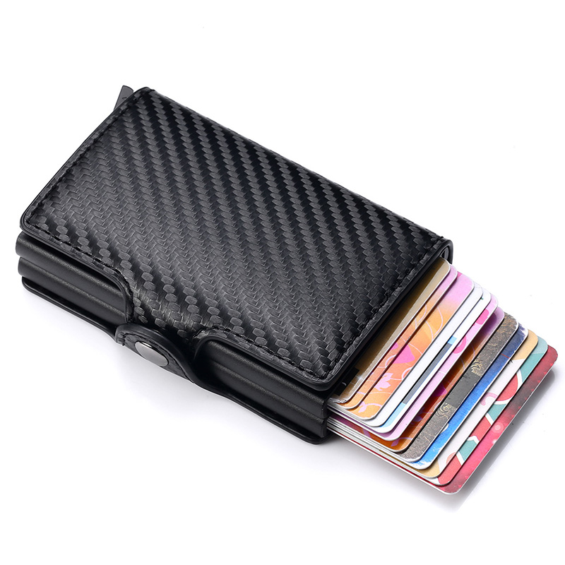 Classic Leather Men Wallet ID Credit Card Holder for Men Aluminium Card Holder Purse Male Rifd Two Layers Men Bank Card Wallets title=