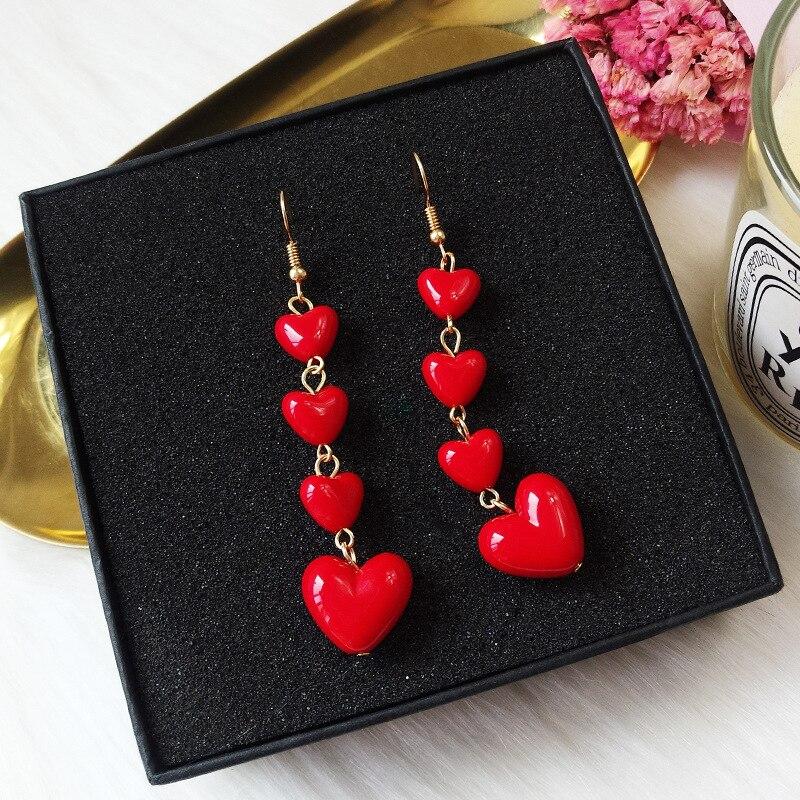 Rinhoo frauen Nette Romantische Herz Tropfen Ohrringe Rot Liebe Herz Lange Quaste Ohrringe Weibliche Erklärung Hochzeit Schmuck Großhandel