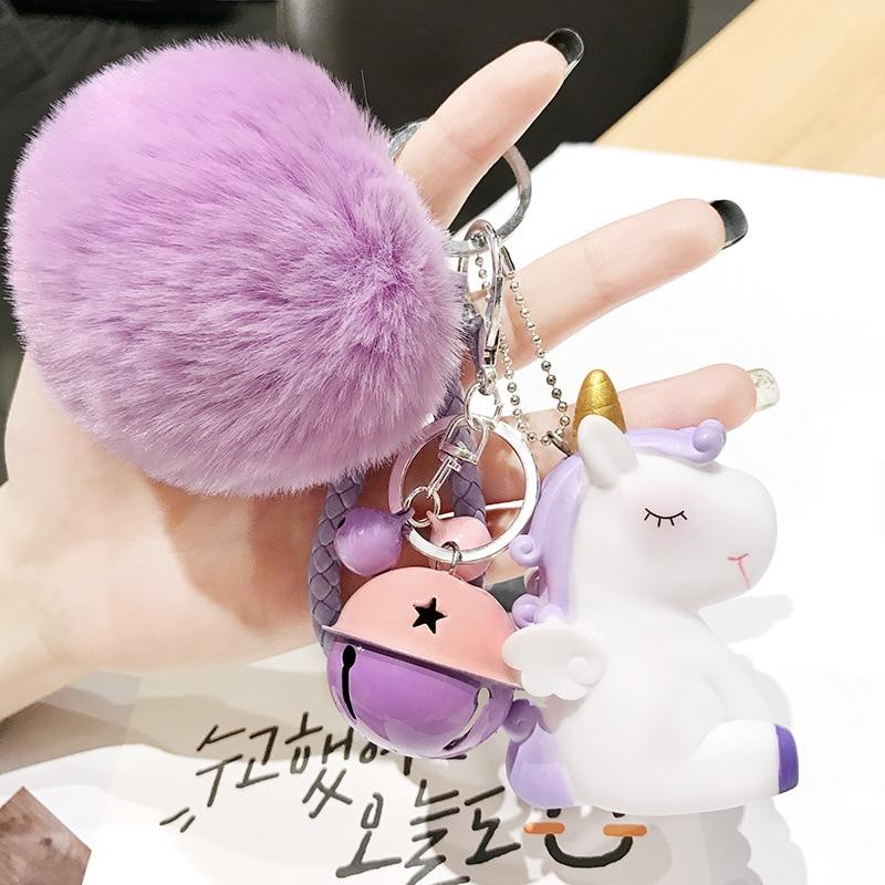 Cute Plush Pompom Unicorn Keychain For Women Round Ball Pom Pom Faux Rabbit Fur Key Chain Trinket Car Bag Bell Key Ring Gift