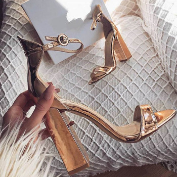 Gold Leather Chunky Heel Sandals Peep Toe Ankle Strap Women Square Heels Dress Shoes Summer Party Heels Banquet Shoes Drop Ship