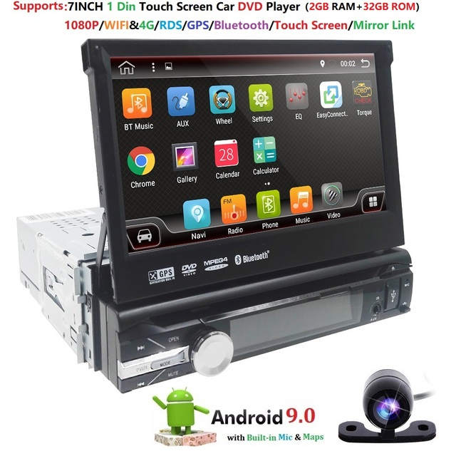 32G ROM 2G RAM 4G Android 9.0 Auto Radio Quad Core 7Inch 1DIN Universal Car DVD player GPS Stereo Audio Head unit DAB DVR OBD BT
